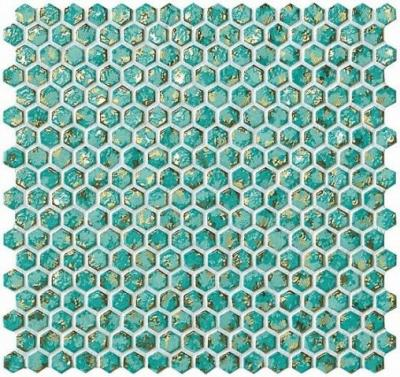 Мозайка Atlas Concorde Dwell Turquoise Hexagon Gold (6DHT) 30x30 6DHT